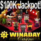 WinADayCasino.eu online casino offers progressive jackpots which you can win by playing the best slot machine games!